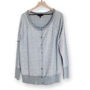 Lane Bryant • Grey & Silver Striped Cardigan 18/20